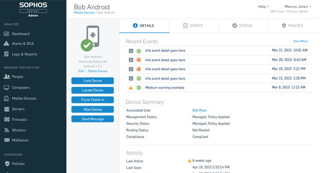 Sophos Central Mobile Control Standard (previously  Sophos Cloud Mobile Control)